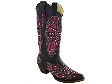 Corral Boots A1049 Womens Wing and Cross Square Toe Boots, Black/Pink - 7 M