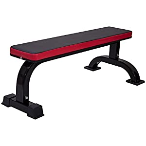 Ollieroo Flat Utility Weight Bench for Weight Lifting Sit Up Bench Strength Training Black/Red