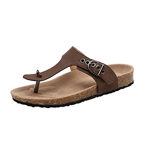 SMALLE_Shoes T-Strap Thong Sandals Women,SMALLE◕‿◕ Women Buckle Slip On Flip-Flops Beach Casual Platform Footbed Slippers Brown