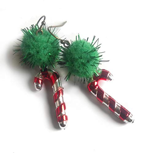 Ugly Christmas Earrings - Green Glitter Pom Poms with Shiny Toy Candy Canes