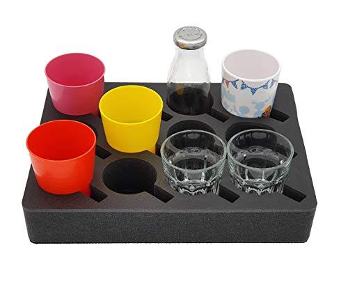 4126FCFEhqL SCHAUMEX ® Premium Model 2020 - Tassenhalter Glashalter Gläserhalter Becherhalter - Platz für 12 Stück - Schaumstoff für…