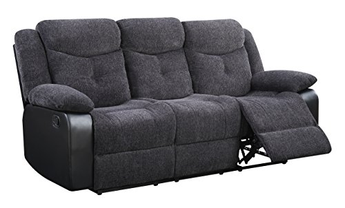 Global Furniture U1566 – JASMINE MOUSE – RS Reclining Sofa Jasmine Mouse, Grey/Charcoal