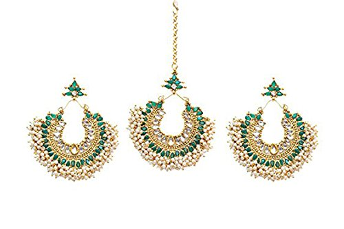 Indian Bollywood Green stone Antique Gold Plated Maang Tikka & Earring Forehead Jewelry by Ratna creation