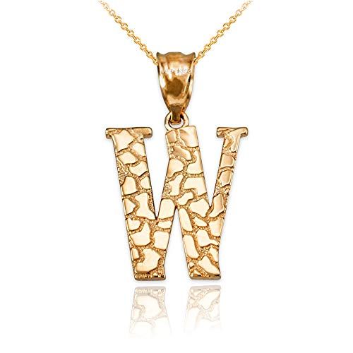 LA BLINGZ 14K Yellow Gold Nugget Initial Letter Alphabet Pendant Necklace (22, Letter W) ()