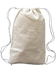 100% Natural Cotton Canvas Mini Drawstring Bag Perfect Lightweight Festival Backpack