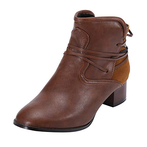 2018 Fashion Retro Women's Low-Heeled Rear Tie Non-Slip Shoes Round-Toe Short Boots Chaussures Femme,Brown,35,United ()