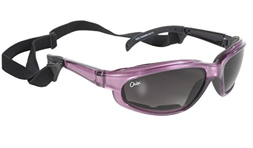 Pacific Coast Chix Freedom Padded Riding Sunglasses with Detachable Strap (Pearl Purple Frame/Grey Fade - Sunglasses Detachable