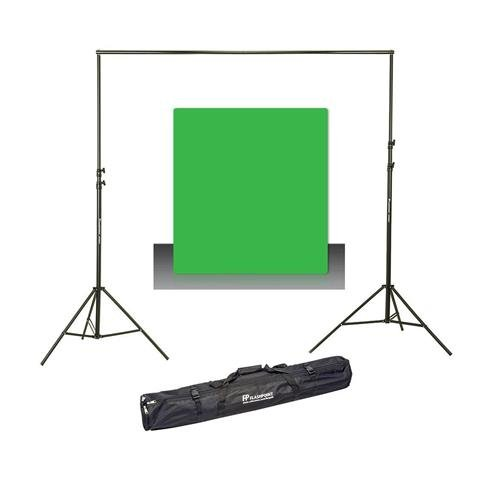 Westcott Photo Basics 9' x 10' Green Screen Cotton Background - Bundle With Flashpoint 10' Background Support System by Westcott