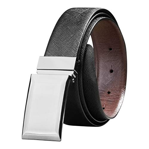 Black Leather Plaque Buckle Belt - Savile Row Men's Reversible Leather Belt with Plaque Buckle - Gift box (Size 40)