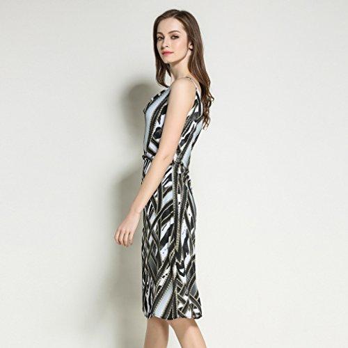 Fit Slip Sleeveless V Neck Dress Chiffon cotyledon Slim Dresses Printed qPpxvpw76