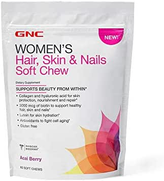 GNC Women's Hair, Skin & Nails Soft Chew, Acai Berry, 60 Chews, Supports Beauty from Within