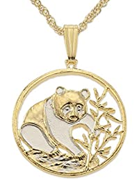 Chinese Panda Bear Pendant and Necklace, Chinese Coin Hand Cut,14 Karat Gold and Rhodium Plated, 3/4