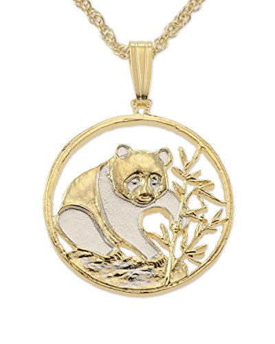 (Chinese Panda Bear Pendant and Necklace, Chinese Coin Hand Cut,14 Karat Gold and Rhodium Plated, 3/4)