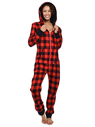 Womens and Mens Unisex Buffalo Plaid Jumpsuit - Premium Black and Red Adult Onesie Pj
