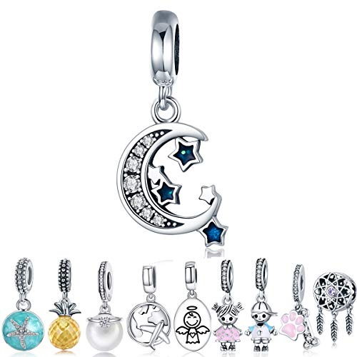 WOSTU Sweet Dream Dangle Charms 925 Sterling Silver Moon and Star Bead Charms for Charm Bracelet Necklace Lucky Charms ()