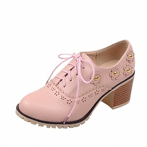 Heel Lovely Oxfords Shoes Women's Adorable Sweet Cute Carolbar Lolita Applique Lace Pink Mid up Chunky Fashion 47TTOqCzw