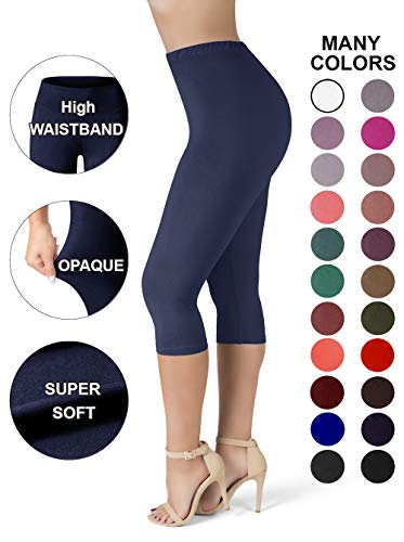 SATINA High Waisted Ultra Soft Capris Leggings - 20 Colors - Reg & Plus Size (One Size, Navy)
