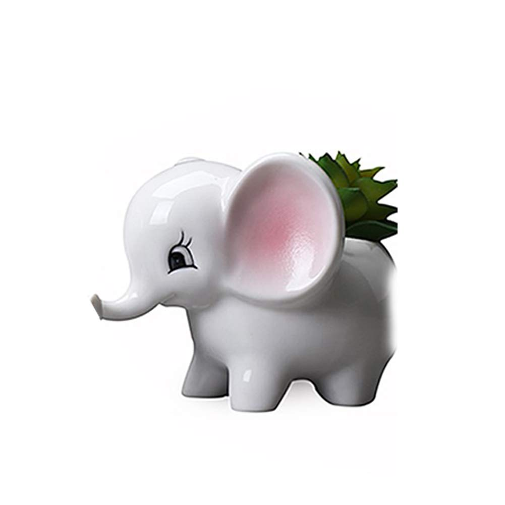Elephant Pot Creative Succulent Elephant Holder Cute Desktop Ceramic Elephant Pot Mini Animal Flower Planter Home Decoration (Small Size) Naisidier