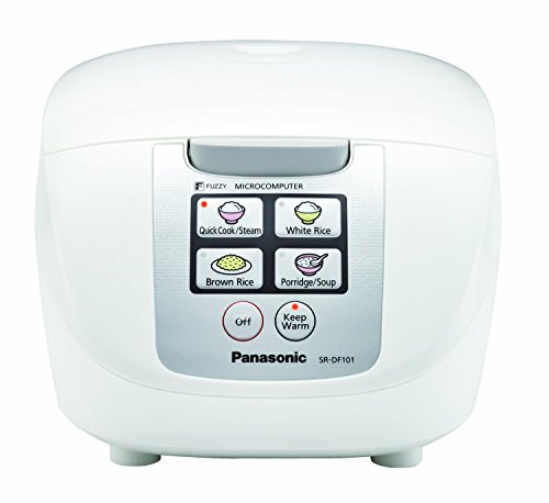 Panasonic 5 Cup (Uncooked) Rice Cooker with Fuzzy Logic and One-Touch Cooking for Brown Rice, White Rice, and Porridge or Soup - 1.0 Liter - SR-DF101 (White)