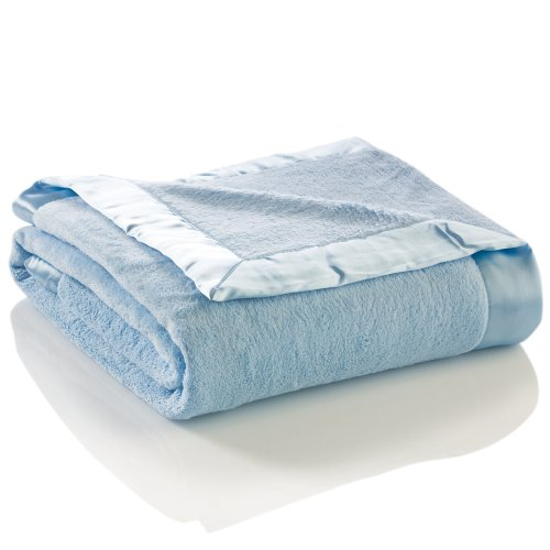 Elegant Baby Ultra Plush Blanket, Satin Border Blanket 36 x 45 Inch in Baby Blue