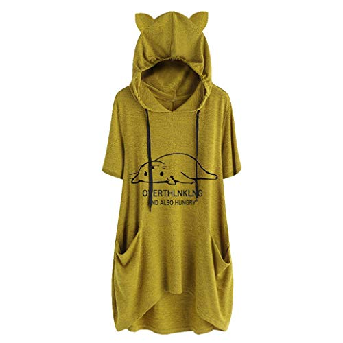 Sunmoot Clearance Sale Plus Size T Shirt for Womens Hooded Blouse Girls Summer Casual Cartoon Print Cat Ear Graphic Short Sleeve Side Pockets Tops Tunic ()