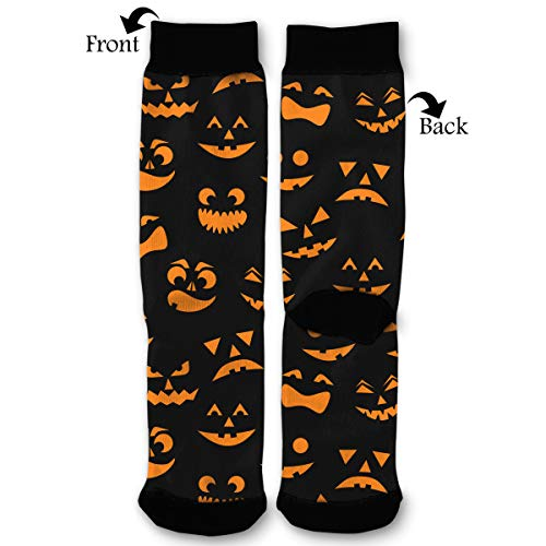 NGFF Halloween Carved Orange Pumpkins Faces Men Women Casual Crazy Funny Athletic Sport Colorful Fancy Novelty Graphic Crew Tube -