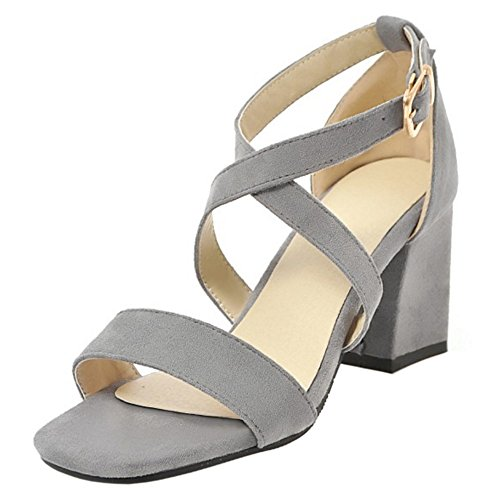 Fashion Strap Sandals Women Gray Cross TAOFFEN Heels U0H5wt