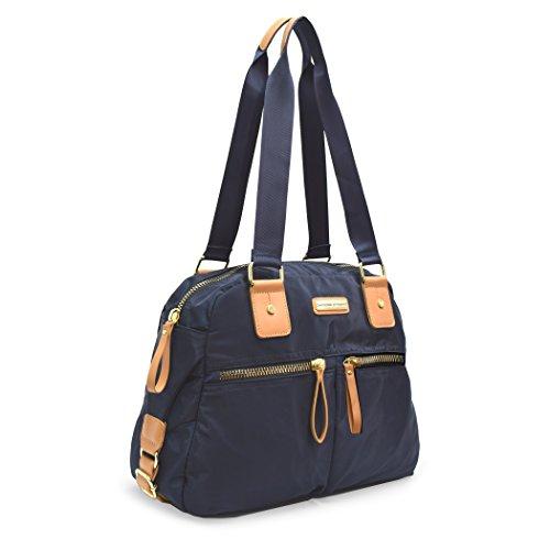 Adrienne Vittadini PU Handbag With Two front Zip Pockets and Interior Organizer (NAVY) 2 Interior Pockets