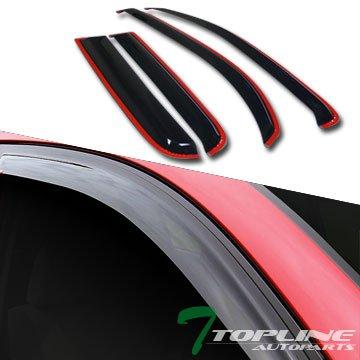 Topline Autopart In-Channel Sun/Rain Guard Smoke Vent Shade Deflector Window Visors For 06+ Chevy Hhr