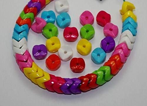 FidgetKute 200pcs Mixed Color Acrylic Beads DIY Interval Beads Spacer Charm 9mm ()