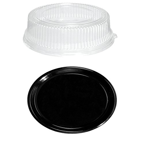Party Essentials N912422 Soft Plastic 12-Inch Round Flat Serving/Catering Trays, Black with Clear Dome Lids, Set of -