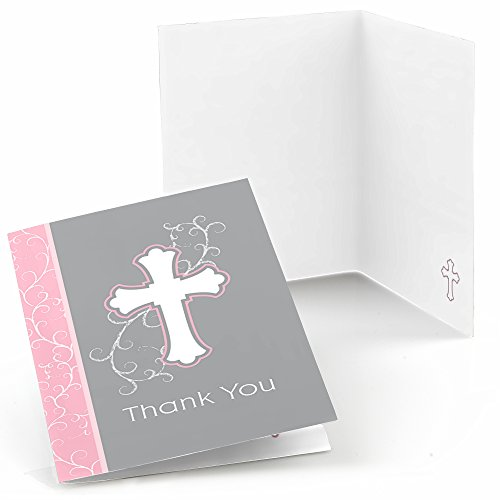 Little Miracle Girl Pink & Gray Cross - Baptism or Baby Shower Thank You Cards - Set of 24 (Pink Confirmation Note Cards)