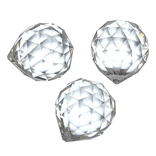 3-Piece Crystal Suncatchers - Hanging Faceted Crystal Balls, Decorating Feng Shui Prism Pendants, Clear Crystal, 1.7 Inches (Faceted Sphere)