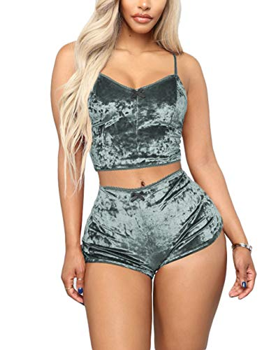 Women's Velour 2 Piece Outfit Spaghetti Strap Sleeveless Crop Top and Shorts Set Clubwear Grey M ()
