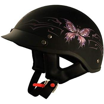 VCAN Cruiser Intricate Butterfly Motorcycle Half Helmet (Flat Black, Medium)