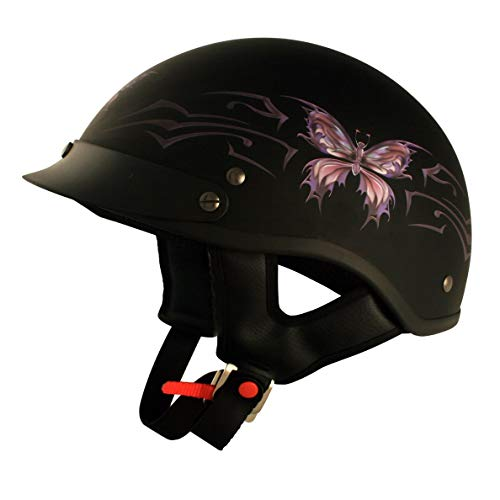 VCAN V5 Cruiser Intricate Butterfly Flat Black Medium Half Helmet