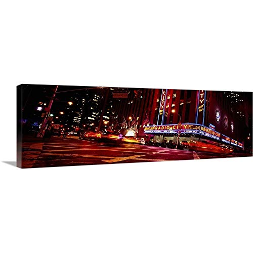 GREATBIGCANVAS Gallery-Wrapped Canvas Entitled Low Angle View of Buildings lit up at Night, Radio City Music Hall, Rockefeller Center, Manhattan, New York City, New York State by 48