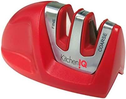 Kitchen IQ 50883 Edge Grip 2 Stage Knife Sharpener, Red