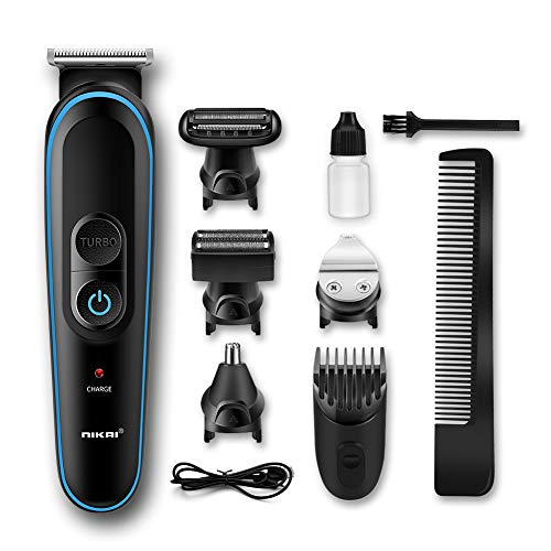 Hair Trimmer, MOICO Cordless Haircutting Kit - Beard Trimmer & Hair Clippers, Precision Trimmer Nose Hair Trimmer Accessories 5 in 1,USB Rechargeable and Accelerated Trimming