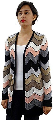 Serendipity Chevron Open Front Multi-Colored Cardigan Sweater (Black Combo, Small)