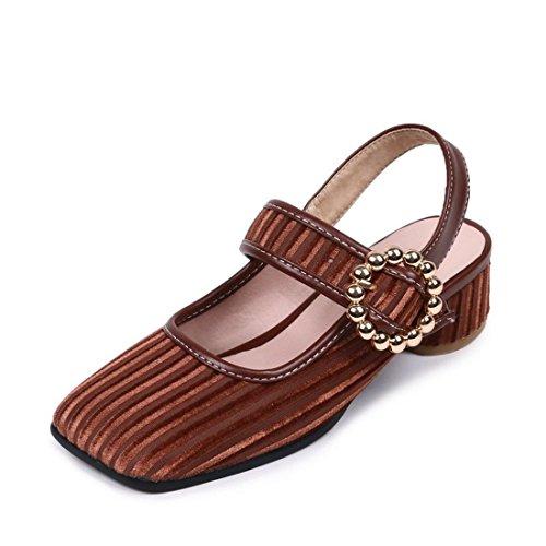 AIKAKA Zapatos de Mujer Primavera Verano Plana de Gran Tamaño con Zapatillas Brown