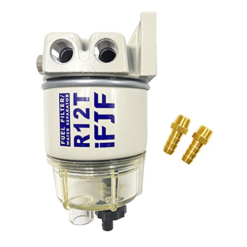 iFJF Automotive Parts R12T for Fuel Filter/Water Separator with Fitting 120AT NPT ZG1/4-19-Complete Combo Filter Diesel Engine - Marine Fuel Water Separator