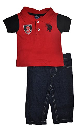 (U.S. Polo Assn. Baby-Boys Newborn Solid Polo with Contrast Color Sleeves and Denim Jean Set, Engine Red, 6-9 Months)