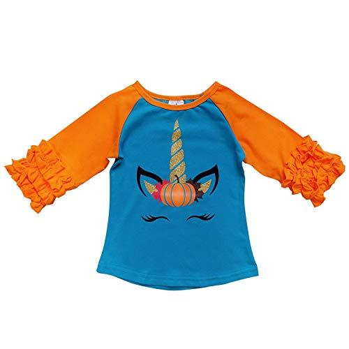 So Sydney New Toddler & Girl Fall & Winter Holiday Sparkle Ruffle Raglan T-Shirt (M (4T), Unicorn Pumpkin Blue) -