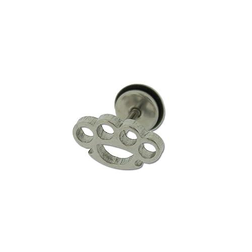 super qualità catturare chiaro e distintivo orecchio in acciaio INOX anello con tirapugni: Amazon.it ...