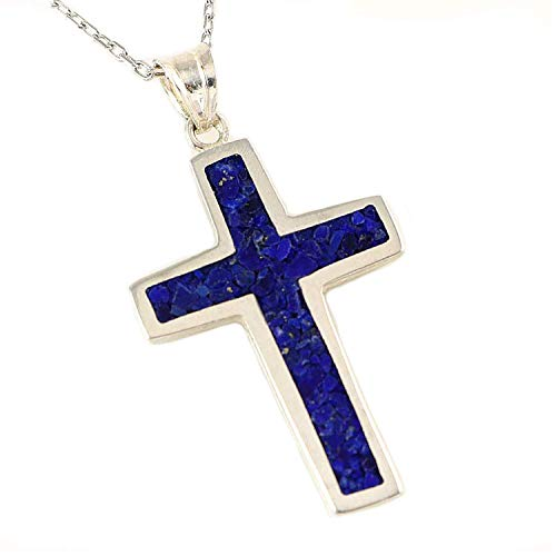 Blue Silver Pendant - Women's Men's Sterling Silver Navy Blue Natural Lapis Lazuli Mosaic 1 inches Cross Pendant Necklace 18+2 inches Chain