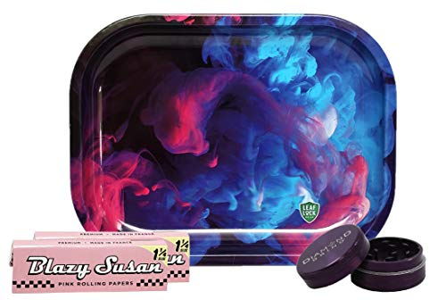 Mini Rolling Tray (Color Swirl), Blazy Susan Pink Rolling Papers 1 1/4 (2 Packs), with Diamond Grind 2-Piece 40mm Grinder (Purple) - 4 Item Bundle