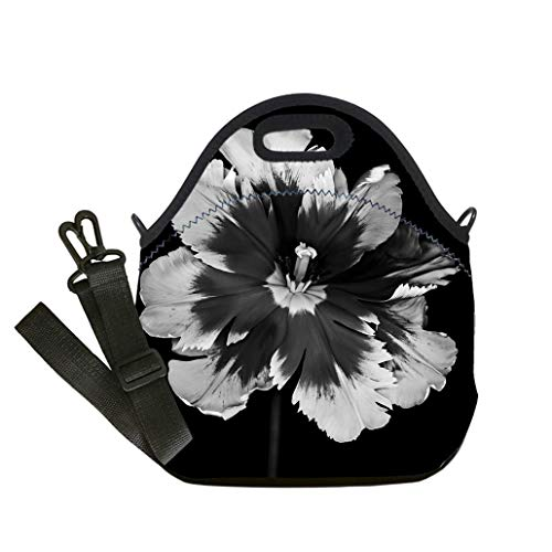 3D Print Neoprene Reusable Cooler Fashion Lunch Bag Monochrome Parrot Tulip isolated on black Lunch Bag- Insulated and Reusable Artful Design