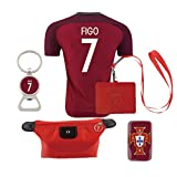 #7 Figo (6 in 1 Combo) Portugal Home Match Soccer Adult EURO 2016 Jersey