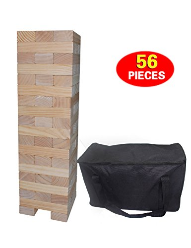 Fun Sports Timber Tower 56 Pieces Wood Block Stacking Game, Giant Tumbling Timber with Carrying Case for Family Backyard Fun Model 5042 by Fun Sports